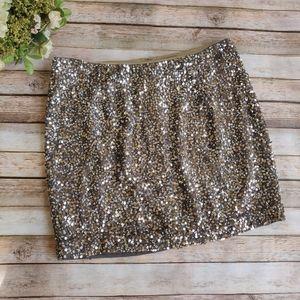 Vince Gold Silver Sequin Mini Skirt Party Holiday